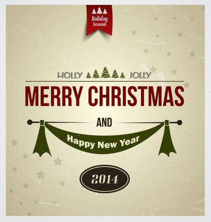 タイポグラフィとビンテージ クリスマス背景。ベクトル  イラスト・ベクター素材