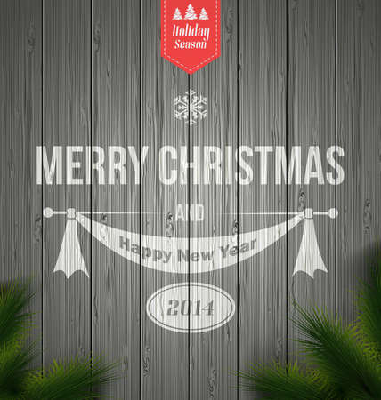 Wood background with a typographic Retro Christmas Design.Vector Vector