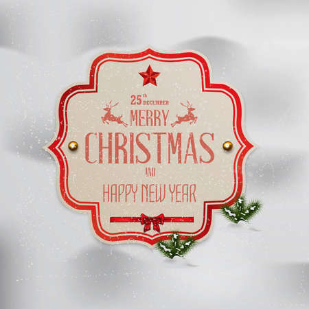 holy place: Christmas  label with holidays greeting. Vector