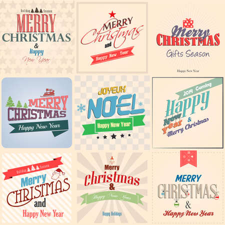 Vintage styled Christmas Card - Set of calligraphic and typographic elements. Ribbons, stickers. Christmas collection. Vector Vector