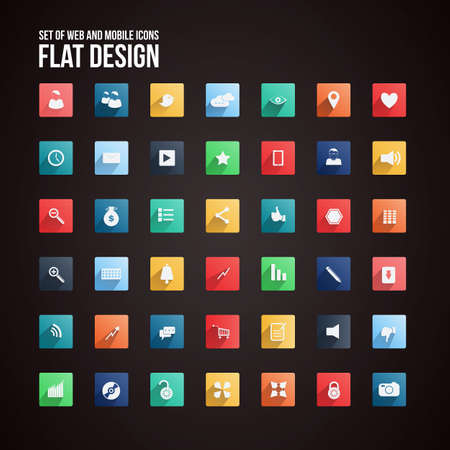 Universal Flat icon set for Web and Mobile.  Vector