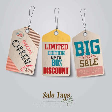 hang tag: Vintage Sale Tags Design  Vector