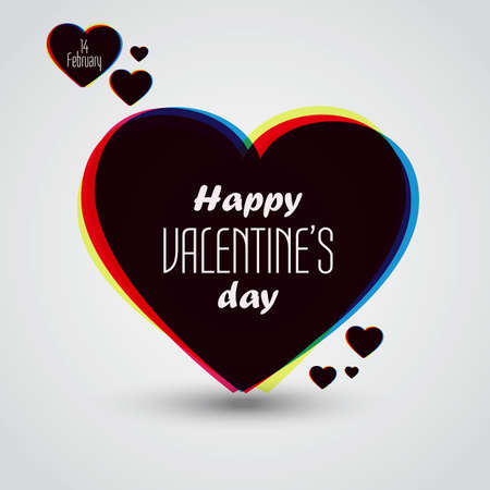Valentines Day Card With Hearts. Vector Vector