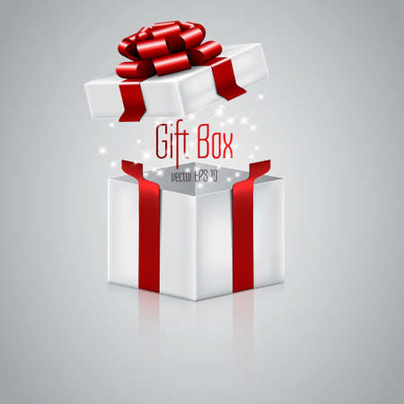 Open gift box with red ribbon. Vector Vector