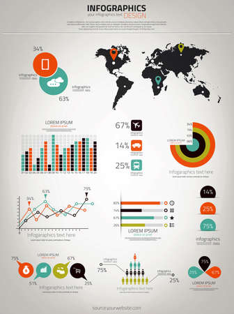 Infographics set. World Map and Information Graphics. Vector