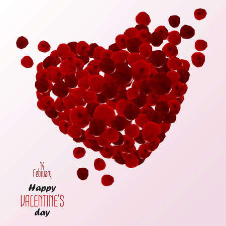 Red rose petals heart. Valentine's Day. Vector Vector