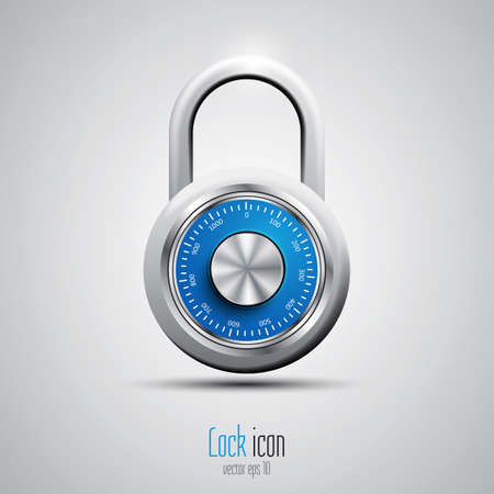lock: Security concept with locked combination pad lock. Vector