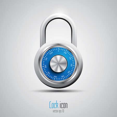 combination lock: Security concept with locked combination pad lock. Vector