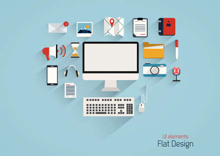 Flat Design Set.  Communication, Computer, Message, Infographics and Business Icons. Vector