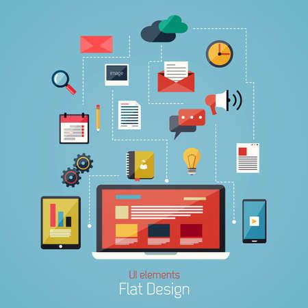 フラットなデザインのモダンなアイコンを設定します。ユーザー インターフェイス要素、ワークフロー オブジェクトです。ベクトル