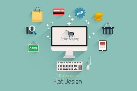 international sales: Flat Design Set.  Communication, Computer, internet shopping elements. Vector Illustration
