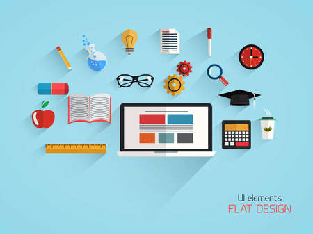 Flat design concept of school and education. Vector Vector