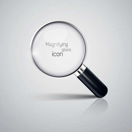 optical glass: Magnifying glass icon. Vector