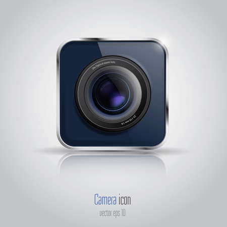 light reflex: Photo camera icon. Vector