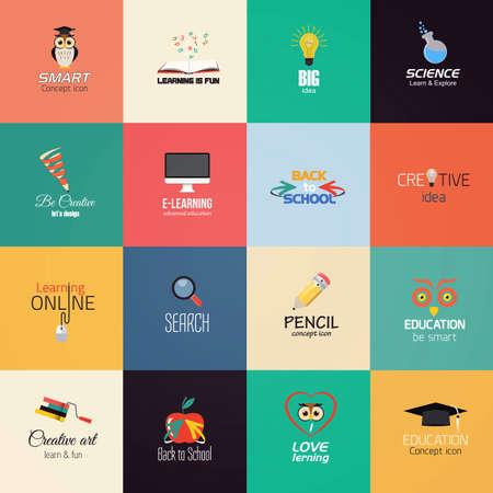 Set of education icons.