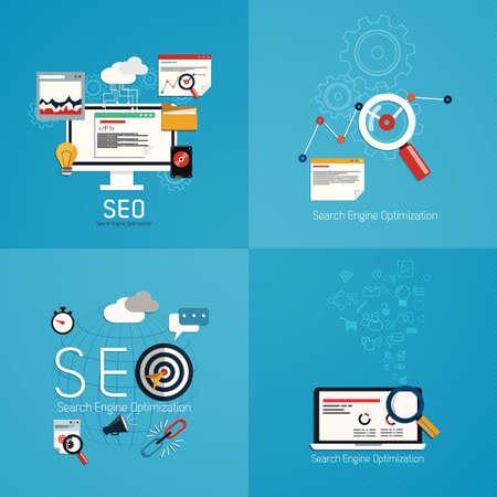 검색 엔진 최적화 프로세스 SEO 데이터 분석의 평면 개념. 벡터