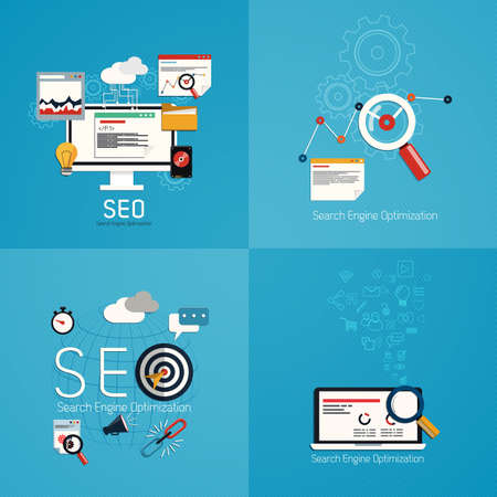 seo: Flat concept of seo process- SEO data analysis. Vector Illustration