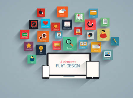 Flat ui design element and icion set for web and mobile. Vector Illustration