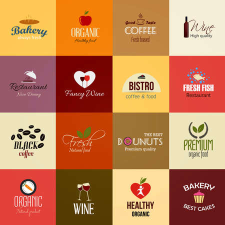 grown with love: Set of Food and Drinks Labels. Vector