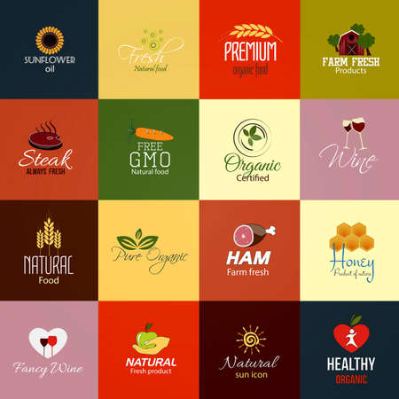 grown with love: Set of Natural Food and Drinks Labels. Vector