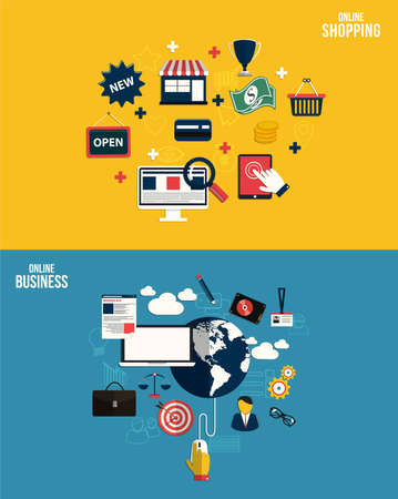 Icons for online business and online shopping. Flat style. Vector Vector