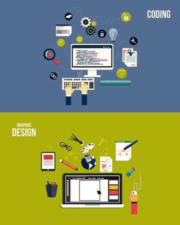 kódování: Ikony pro grafický design a kódování. Byt styl. Vektor Ilustrace
