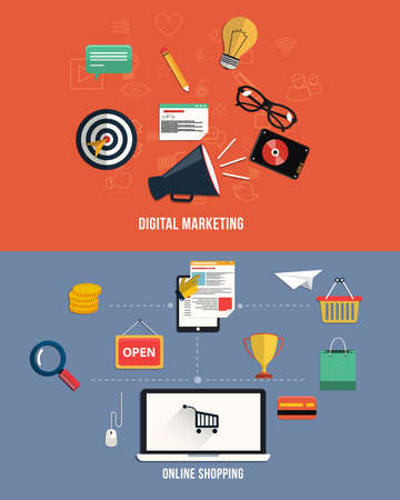 Set of business working elements for digital marketing and online shopping. Vector Vector