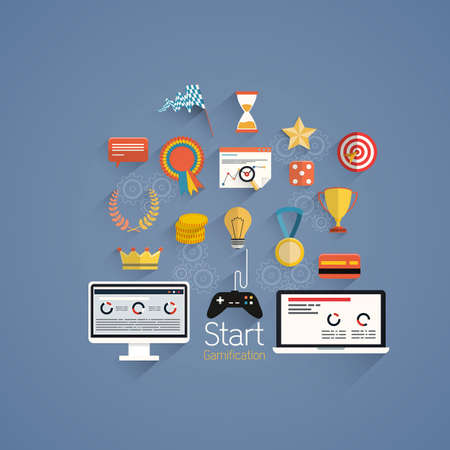 Gamification in business- Design elements and icons with rewards and achievement badges-  Flat style. Vector