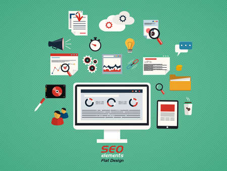 Flat concept of seo process- SEO data analysis. Vector Vector