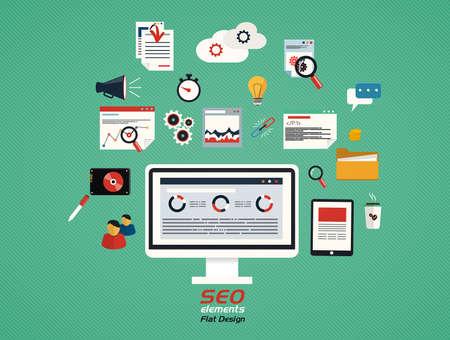 Flat concept of seo process- SEO data analysis. Vector Illustration