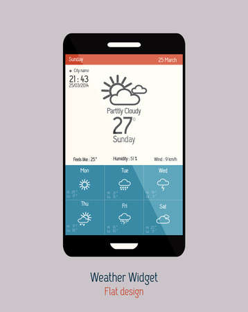 Set of weather icons for web and mobile. Flat design. Vector Vector