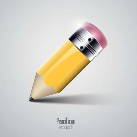 socialize: Yellow pencil icon. Vector