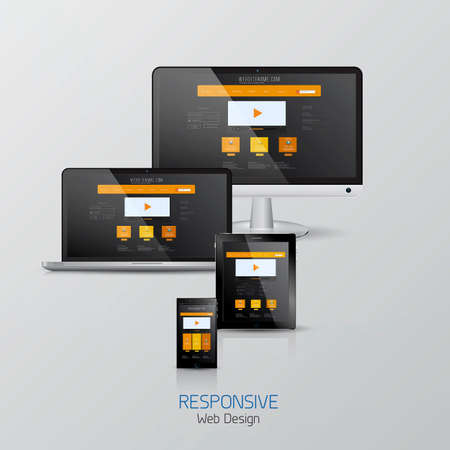 touch screen computer: Responsive Web design. Mock-up.