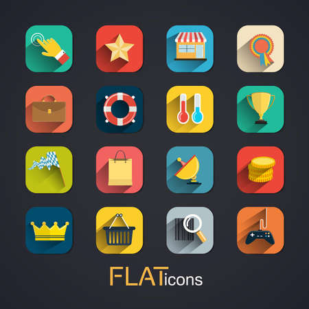 Modern flat icons collection with long shadow effect. Vector Vector