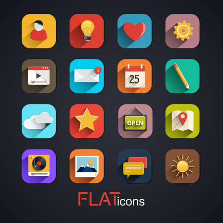 Modern flat icons vector collection with long shadow effect. Vector