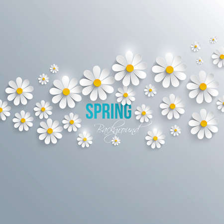 daisy petals: Abstract spring background with paper flowers. Vector