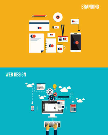 Icons for Branding and web design. Flat style. Vector Vector
