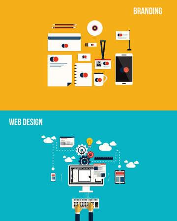 marca libros: Los iconos de la marca y el diseño web. Estilo plano. Vector