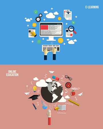 Icons for online education and e-learning. Flat style. Vector Vector