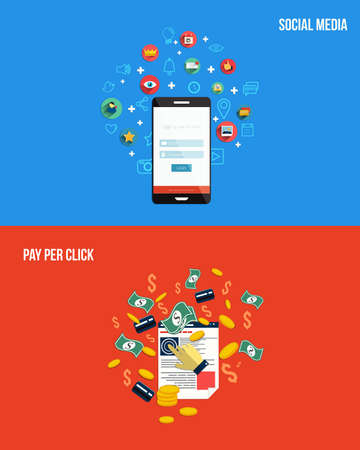 Icons for pay per click and social media. Flat style. Vector Иллюстрация