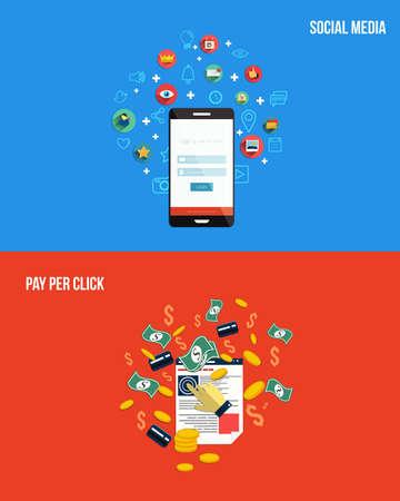 Pictogrammen voor pay per click en social media. Vlakke stijl. Vector