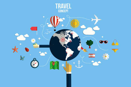symbol tourism: Modern vector illustration icons set of traveling, planning a summer vacation. Flat desing style. Vector