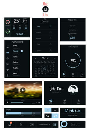 UI elements for web and mobile.Icons and buttons.Flat design. Vector Vector