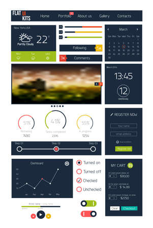 UI elements for web and mobile.Icons and buttons.Flat design. Vector