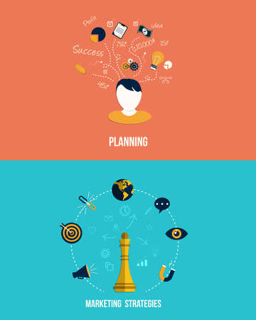 Icons for Marketing strategies and Planning. Flat style. Vector Illustration