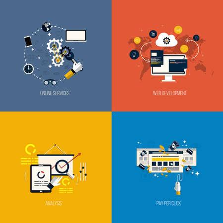 Iconos foronline servicios, desarrollo web, an�lisis y de pago por clic. Estilo plano. Vector Vectores