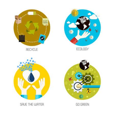 ahorrar agua: Iconos para reciclar, ecología, ahorre el agua, van verde. Estilo plano. Vector