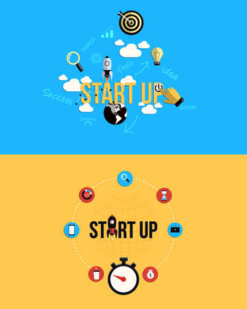 Icons for new business project startup development and launch a new innovation product . Flat style. Vector