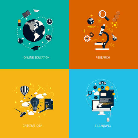 creative idea: Icons foronline education,research,creative idea and e-learning. Flat style. Vector