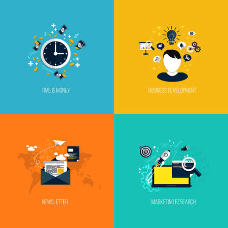 article marketing: Icons for time is money, business development, newsletter and marketing research. Flat style. Vector
